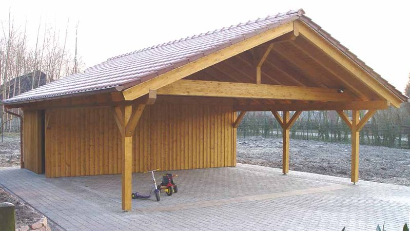 Double carport made in germany 1 garden house wood shop for Carport shop