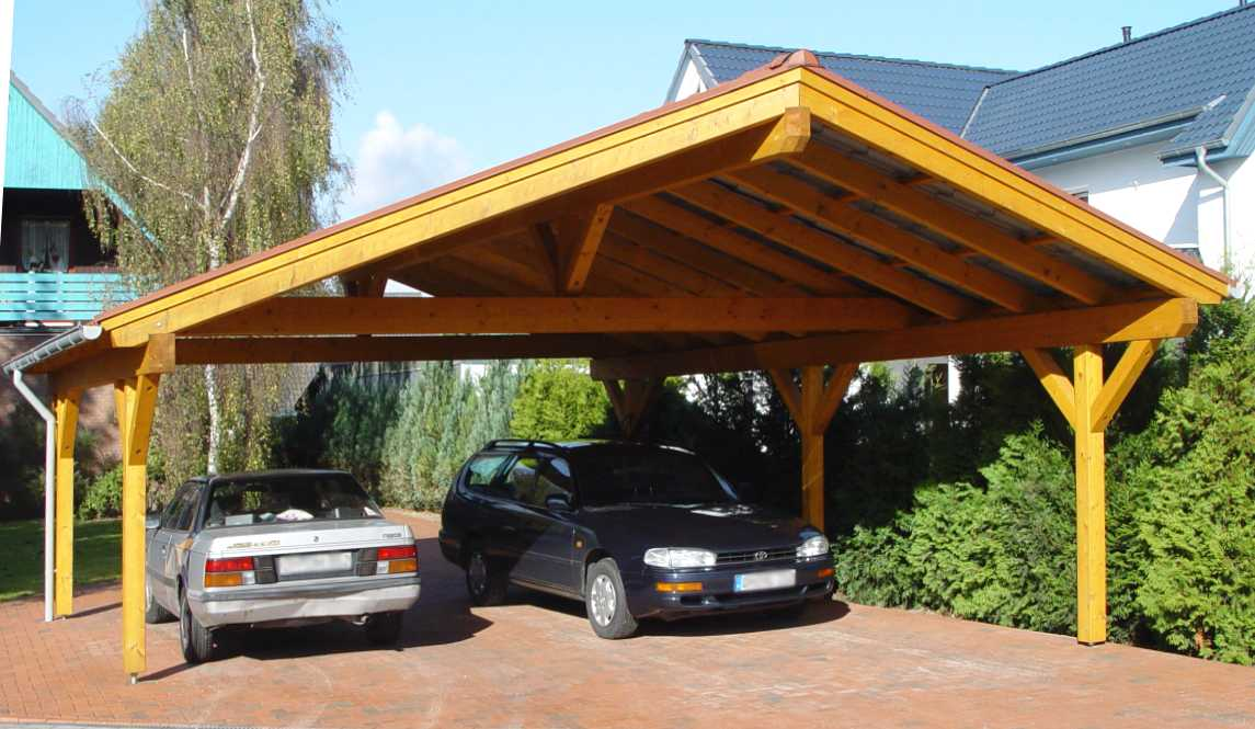 Double carport bsh saddle roof garden house wood shop for Carport doppelcarport