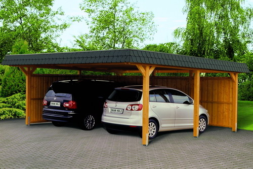 double carport wooden garden house wood shop. Black Bedroom Furniture Sets. Home Design Ideas