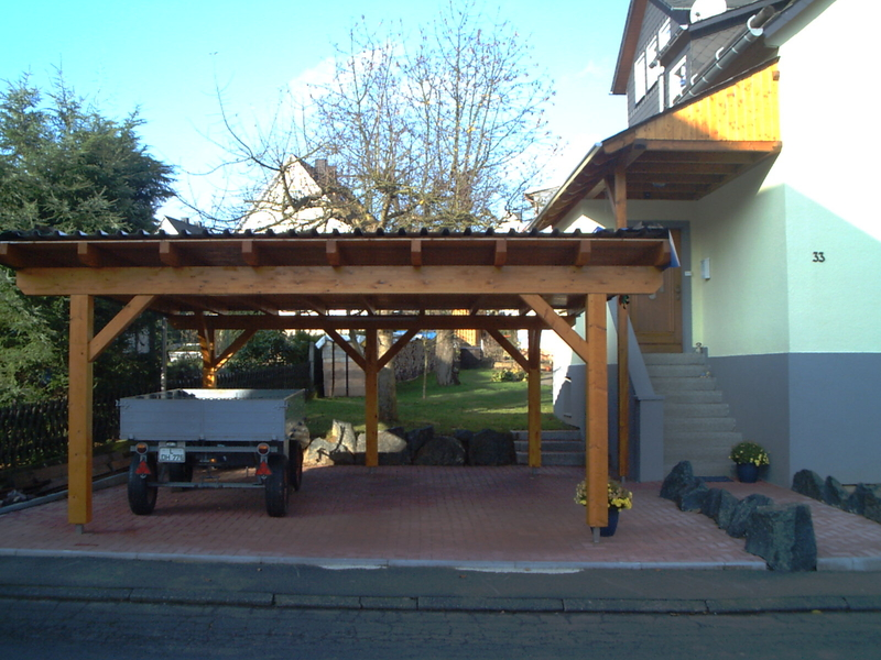 Flat Roof Carport Kits : Double carport flat roof timber garden house wood shop