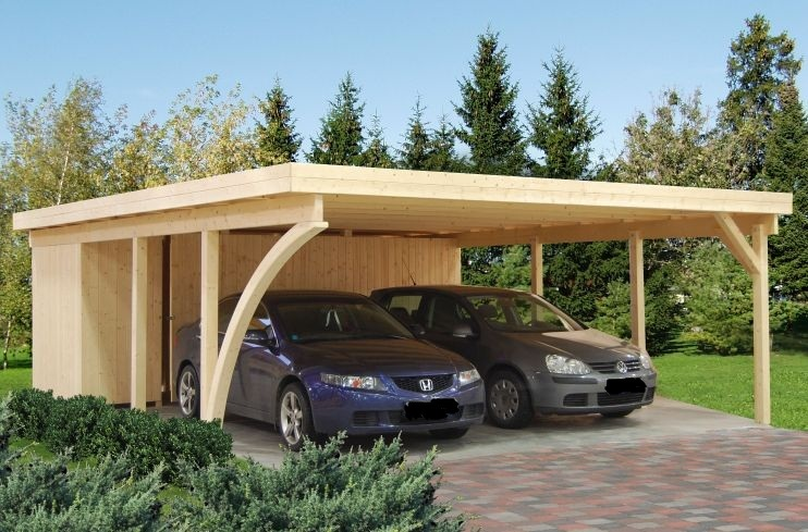 Doppelcarport rp2 mit leimholzbogen sams gartenhaus shop for Montageanleitung carport