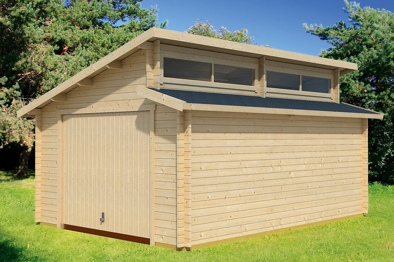 Garage modern holz  Modern wood garage with overhead door - Garden House wood Shop