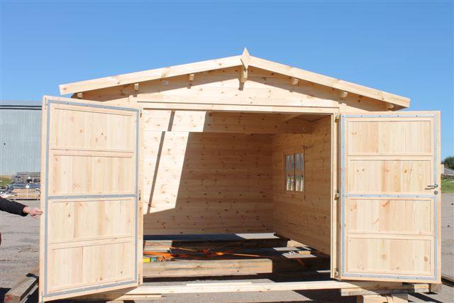 Double garage door wooden door wooden garden house wood shop - Double wooden garage doors ...