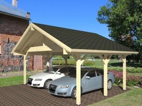 Double carport with gable roof sale garden house wood shop for Gable carport prices