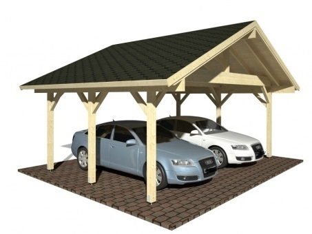 Double carport with gable roof sale garden house wood shop for Gable roof carport price