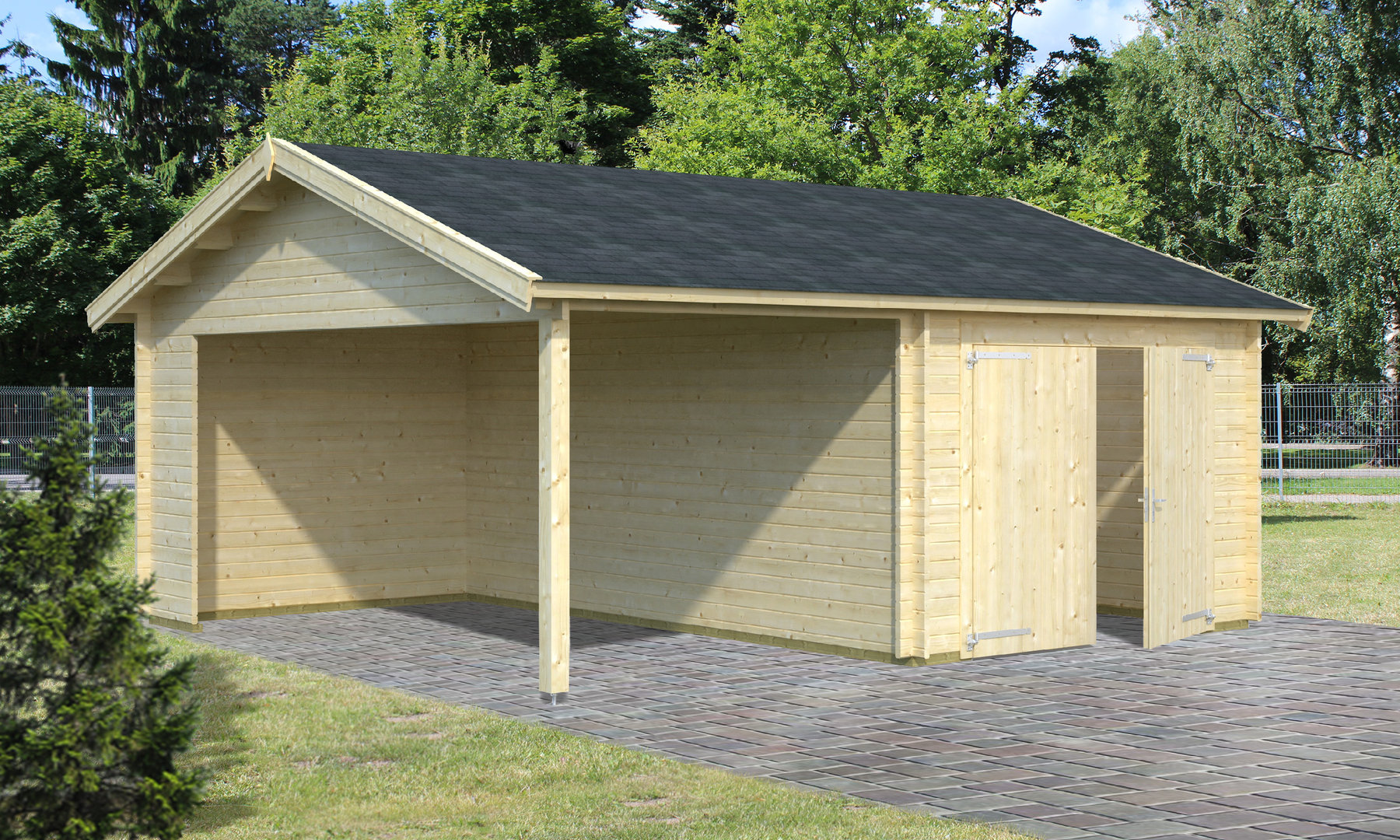 Single garage with carport wooden gate garden house wood for Single garage with carport