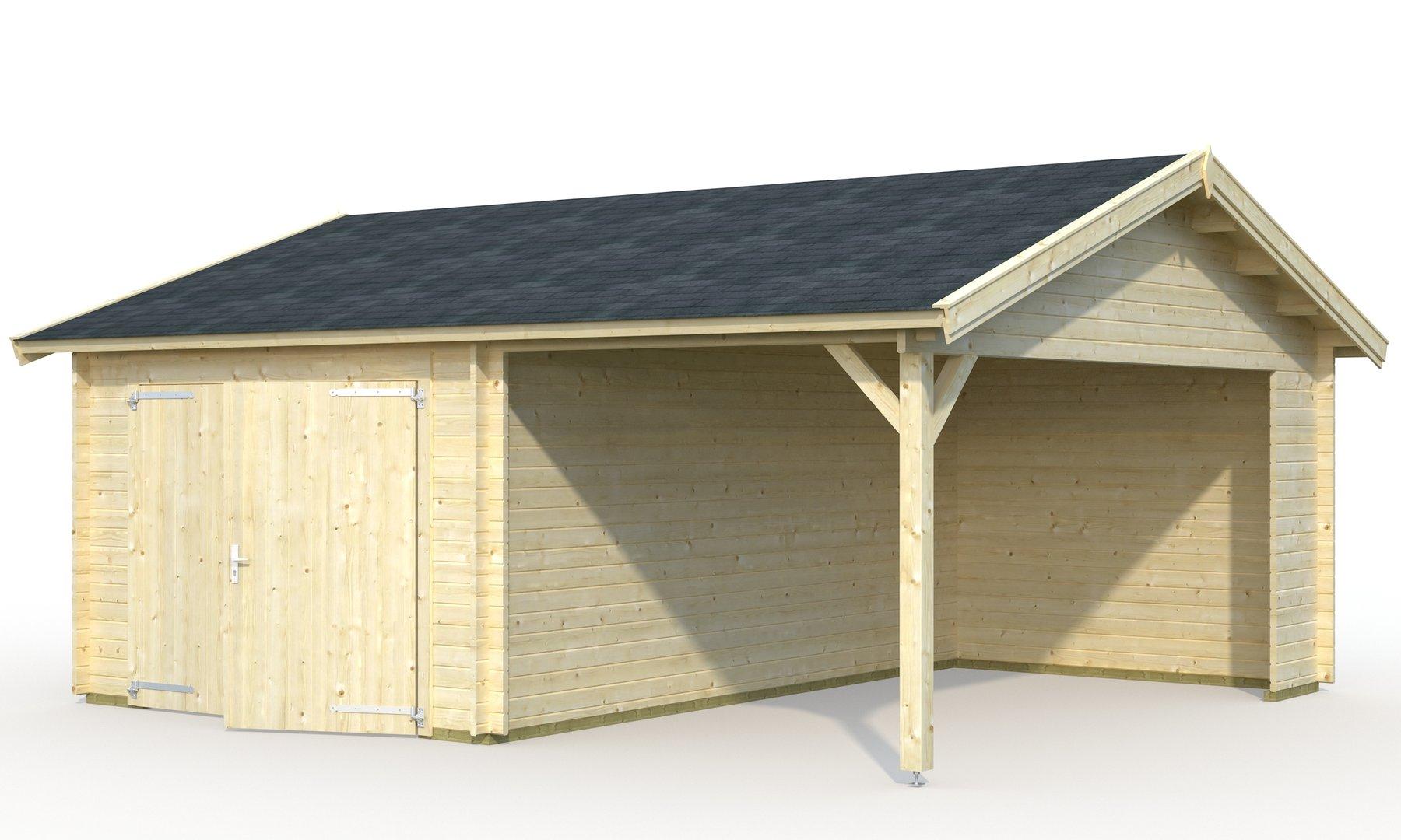 einzelgarage mit carport und holztor sams gartenhaus shop. Black Bedroom Furniture Sets. Home Design Ideas