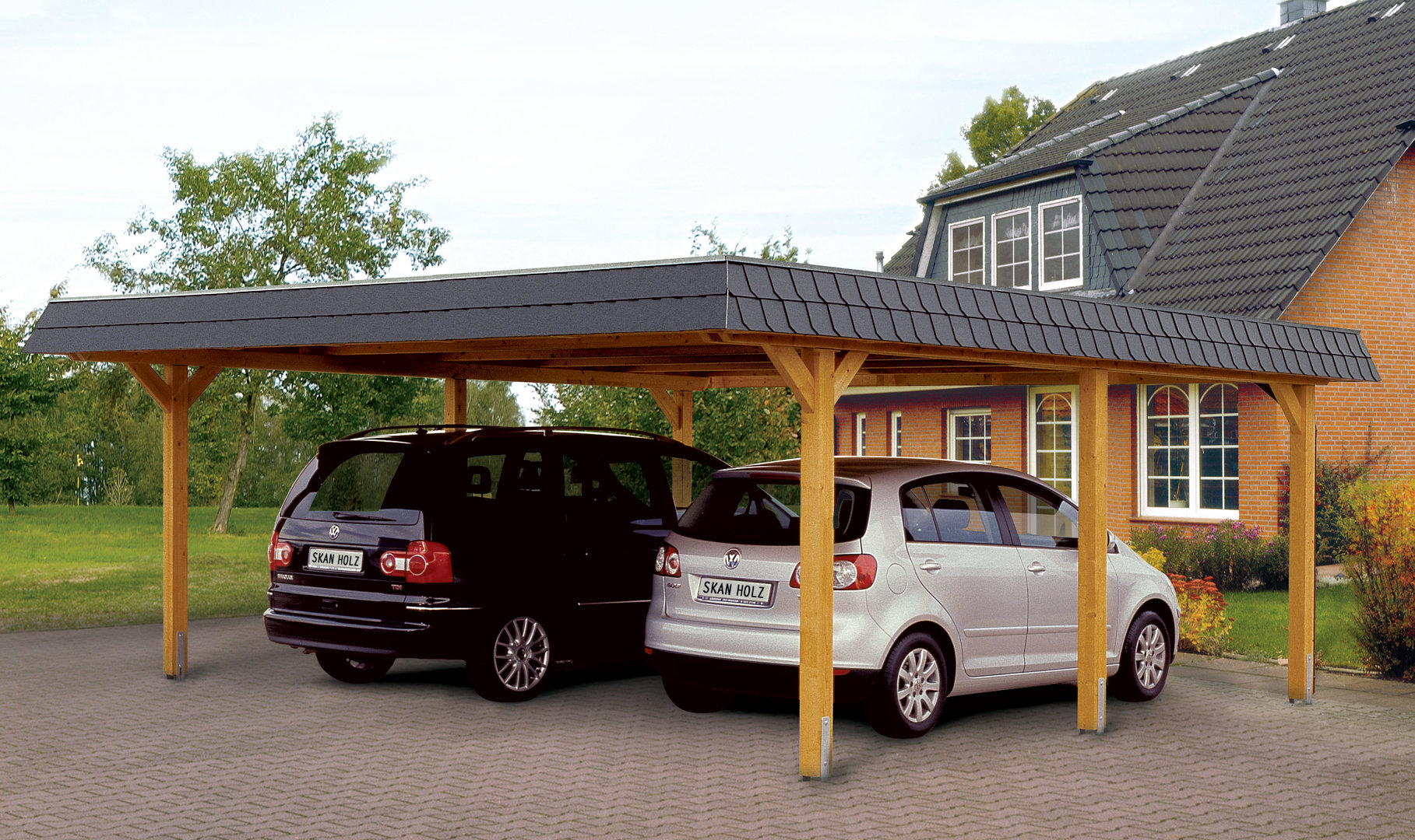 Carport hipped roof leimholz garden house wood shop for Carport shop