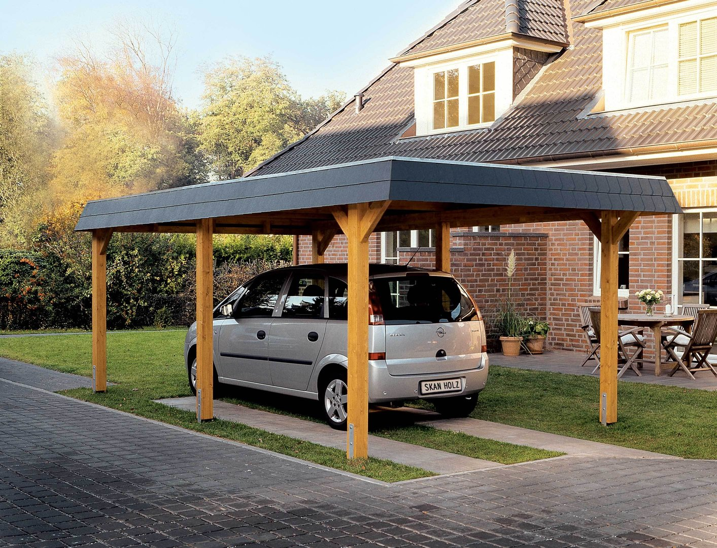 Hipped roof single carport glulam garden house wood shop for Carport shop