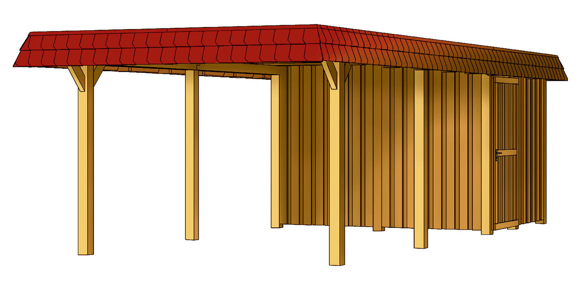 Wendland carport with storage room garden house wood shop Carport with storage room