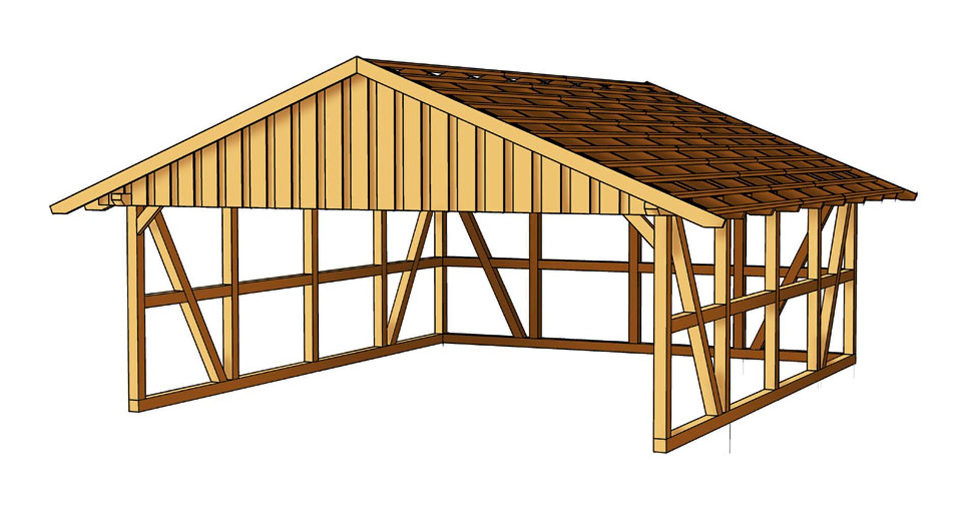 Double carport gable roof rear wall sams garden shed store for Gable roof carport