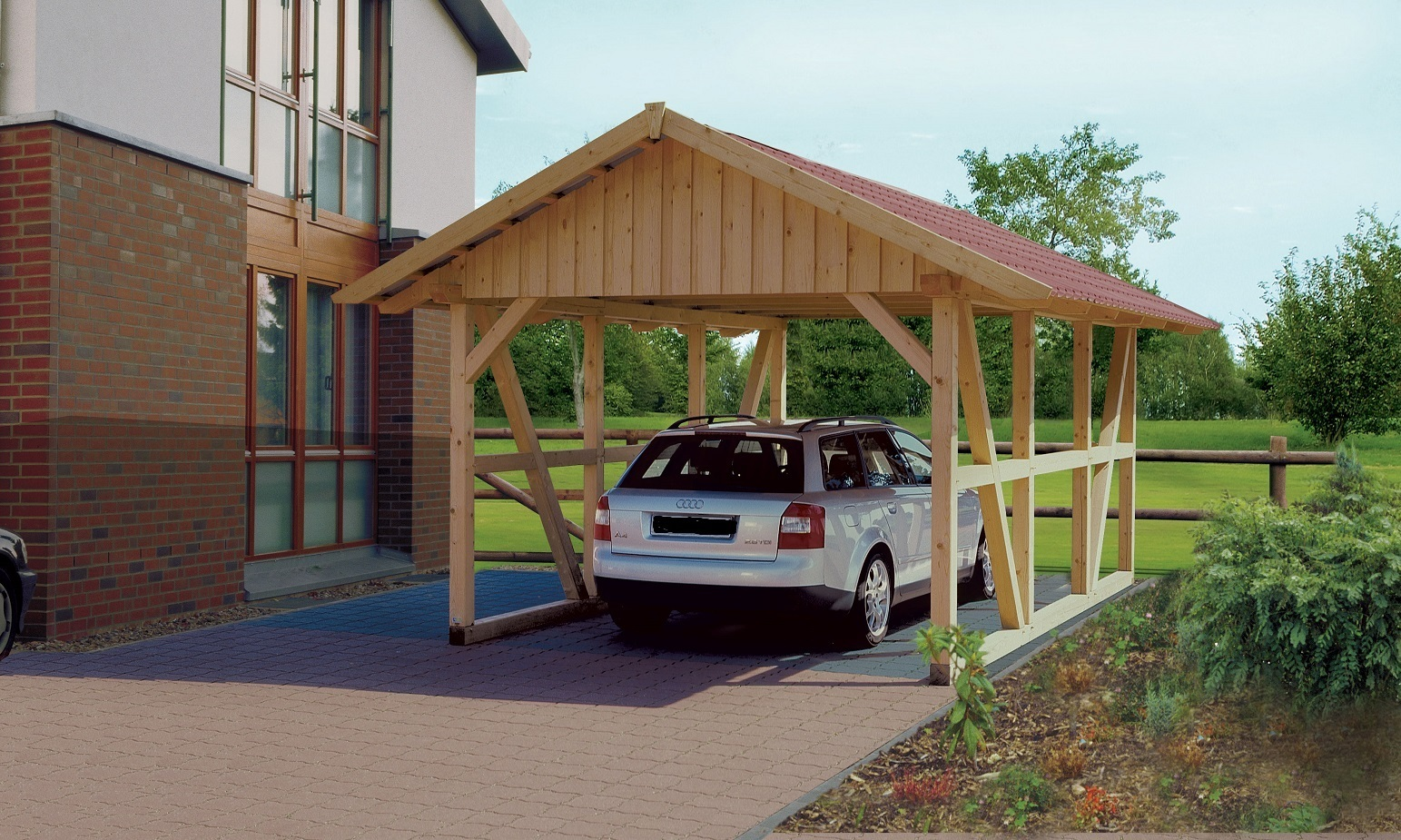 fachwerk carport neu mit spitzdach sams gartenhaus shop. Black Bedroom Furniture Sets. Home Design Ideas