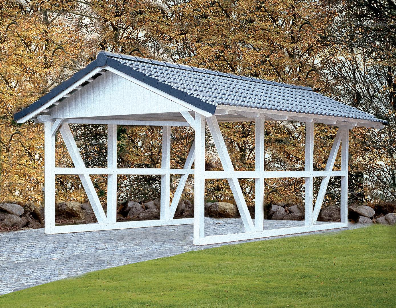 carport neu mit spitzdach fachwerk sams gartenhaus shop. Black Bedroom Furniture Sets. Home Design Ideas