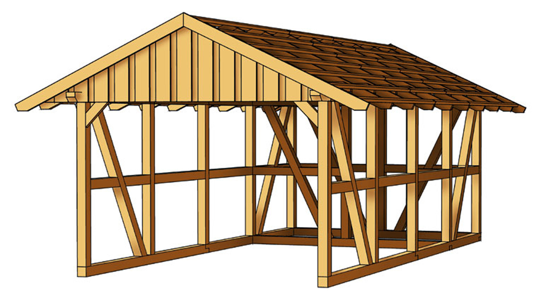 carport mit satteldach abstellraum sams gartenhaus shop. Black Bedroom Furniture Sets. Home Design Ideas