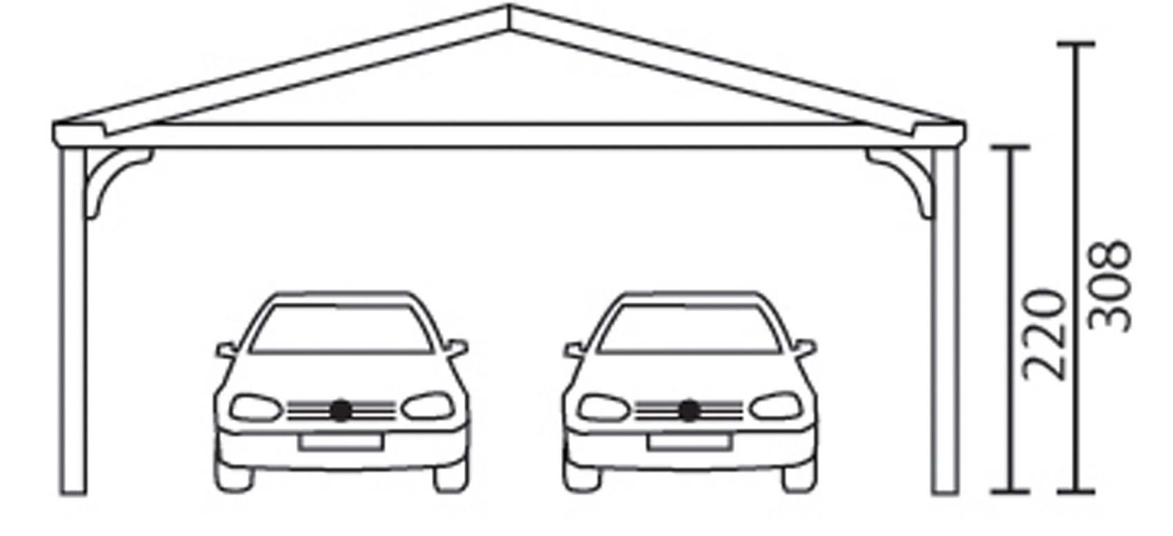 Double carport gable roof rh n 4 sams garden shed store for Gable roof carport price