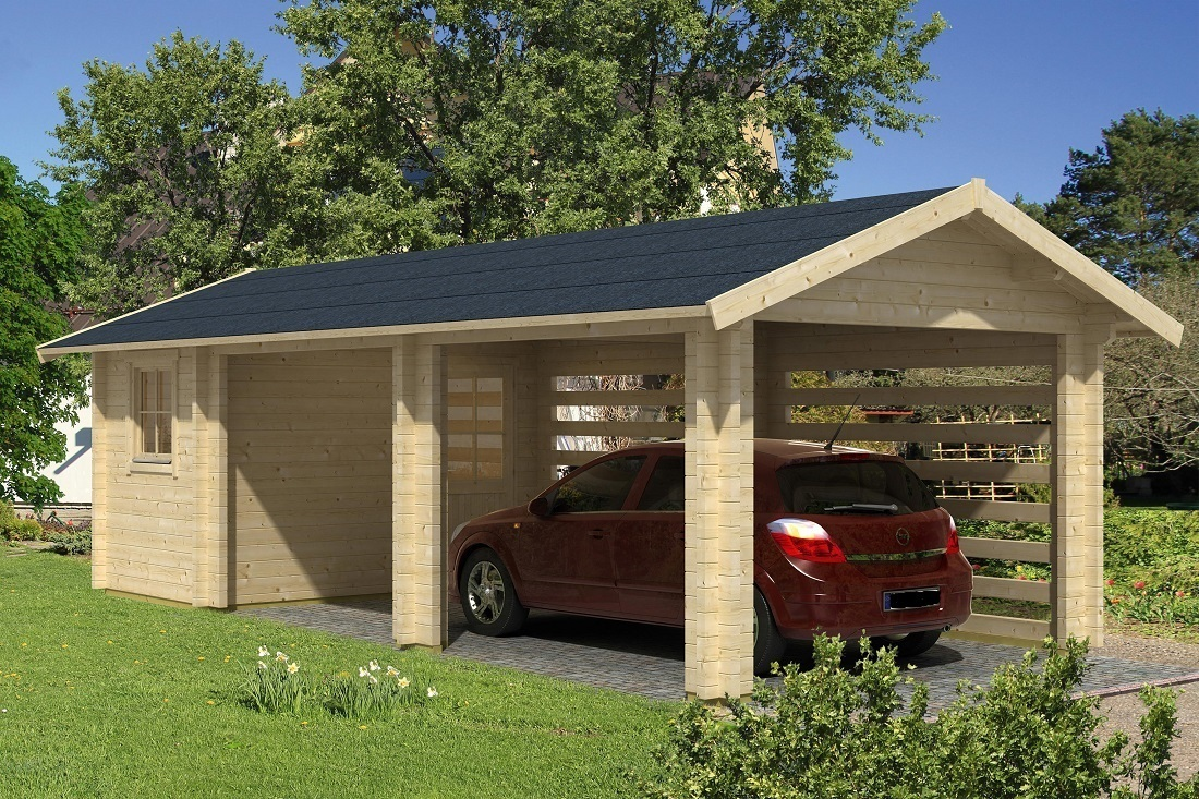 Carport garage abstellraum 70mm sams gartenhaus shop for Carport shop