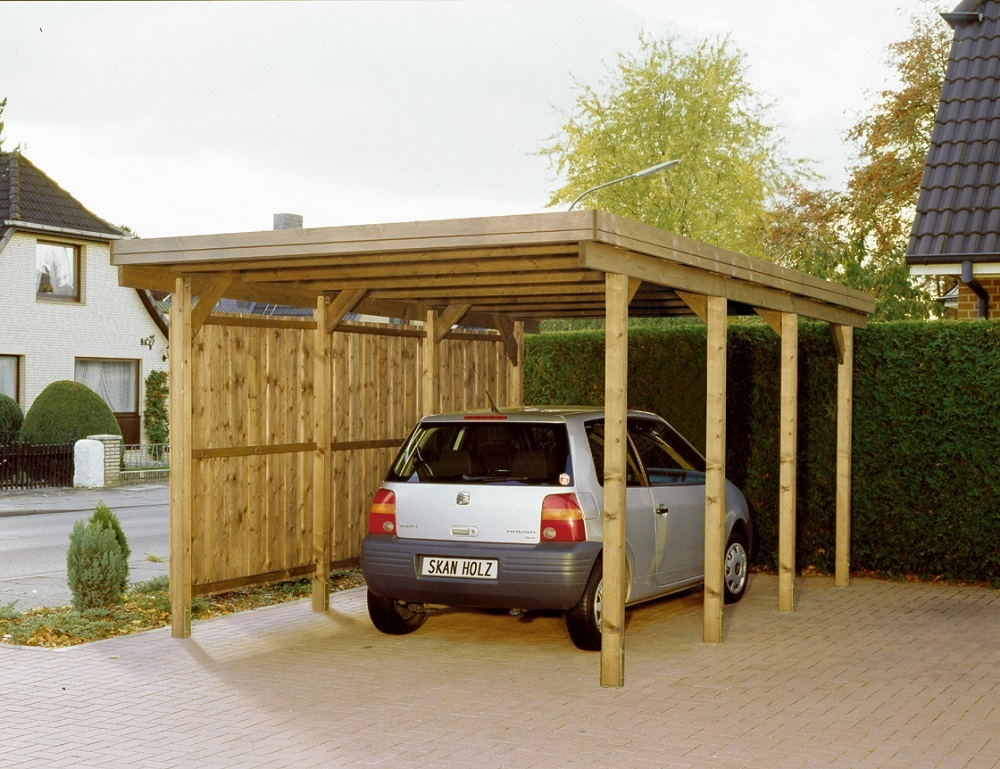 Carport flachdach nadelholz l1 sams gartenhaus shop for Carport shop