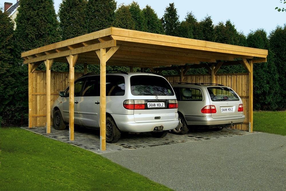Flat Roof Carport Post : Carports flat roof softwood l garden house wood shop