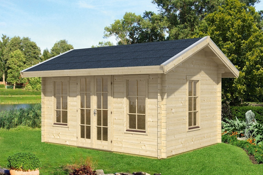 blockbohlenhaus l1 f r dachpfannen sams gartenhaus shop. Black Bedroom Furniture Sets. Home Design Ideas