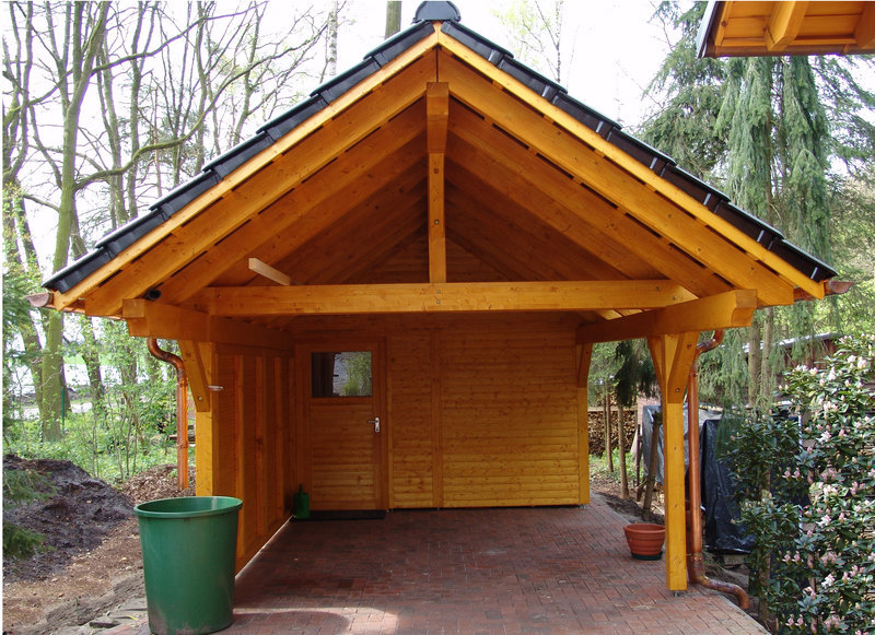 single carort   BSH saddle roof   Garden House wood Shop