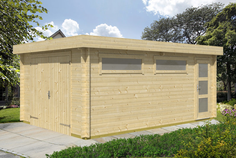 Wooden Garage Flat Roof Without A Goal