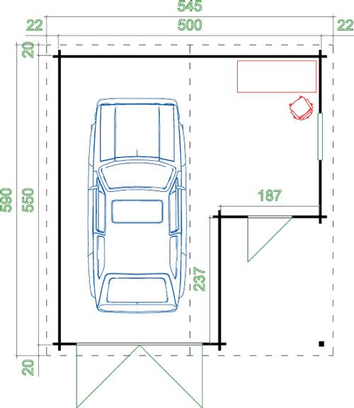 carport holzgarage mit holztor sams gartenhaus shop. Black Bedroom Furniture Sets. Home Design Ideas