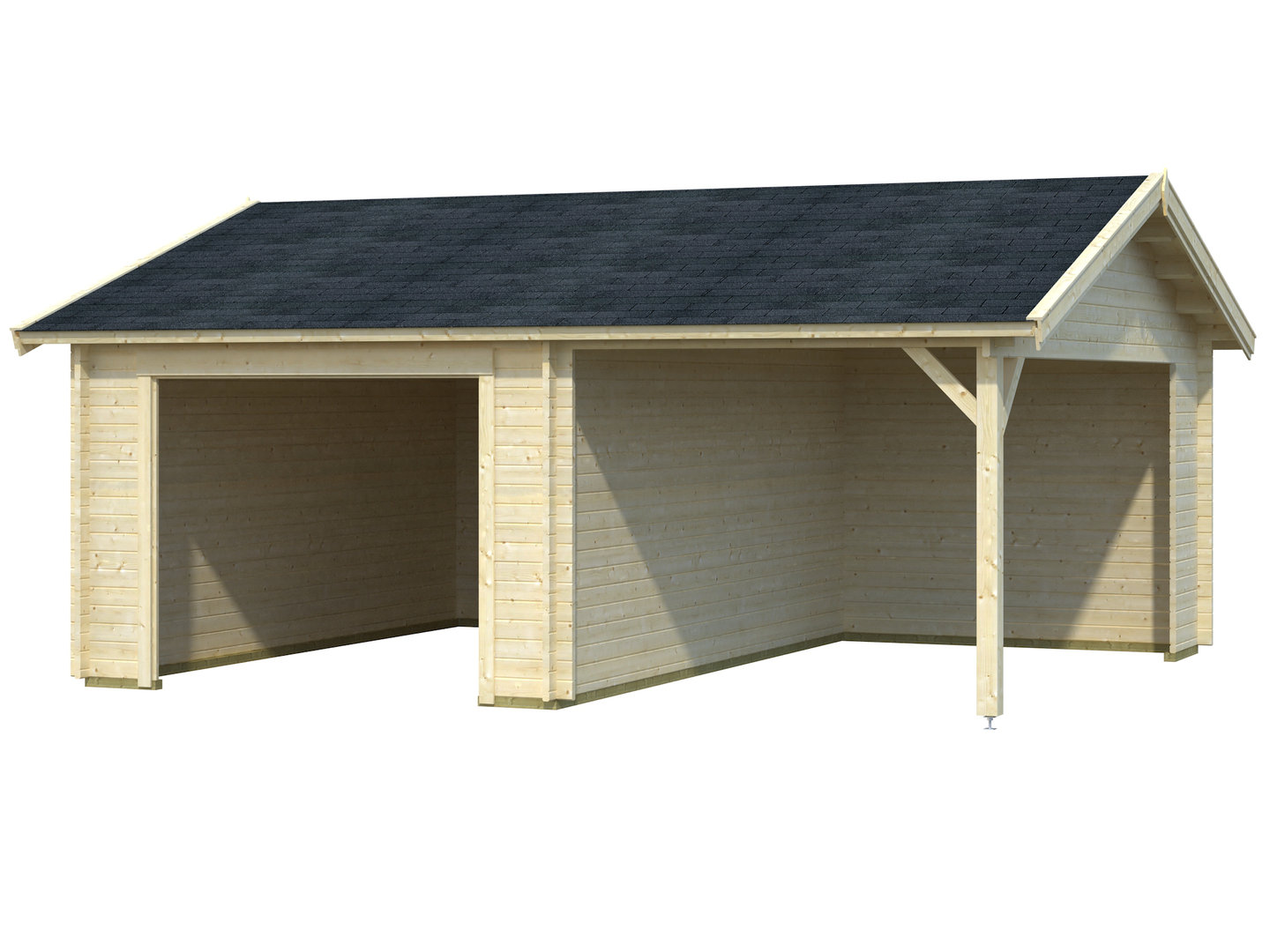 Single garage with carport without gate - Garden House wood Shop
