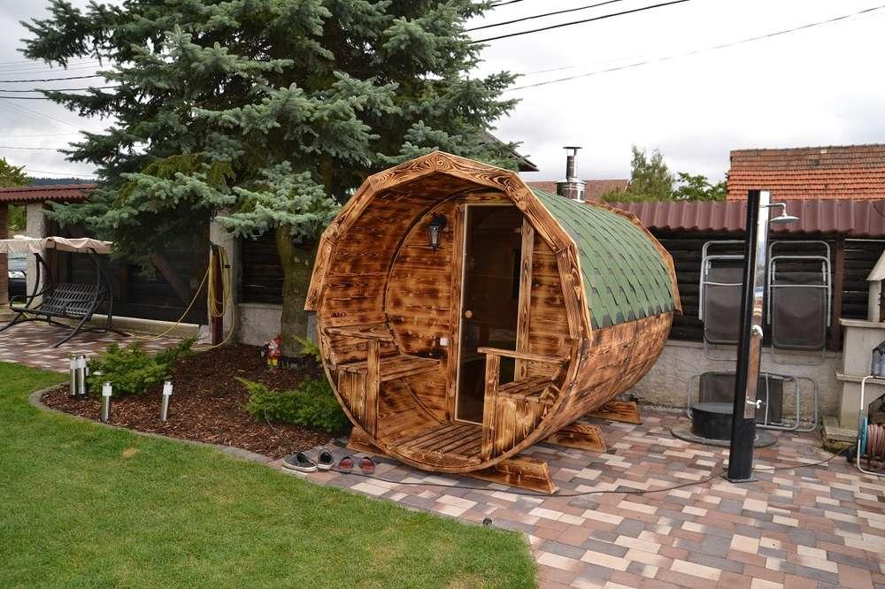 Garten Sauna Fass Flamme gebrannt - Sams Gartenhaus Shop